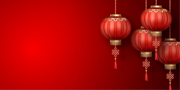 Classic chinese new year background with silk lanterns