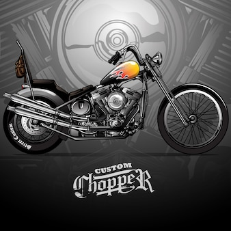 Classic chopper motorcycle poster