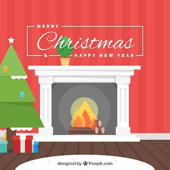굴뚝과 클래식 크리스마스 배경