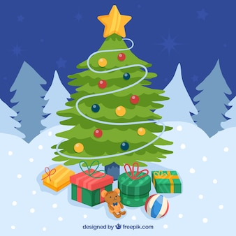 Classic christmas background with flat design