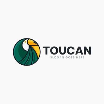Шаблон логотипа классический круг зеленый тукан
