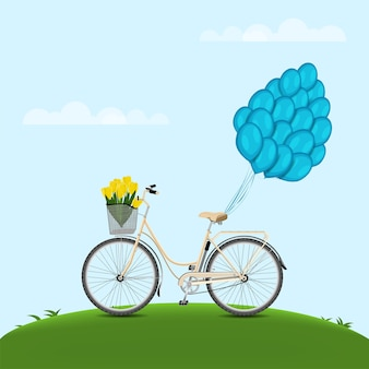 Classic city bicycle, ecological sport transport. beige women bicycle with metal basket, yellow tulips and and balloons attached to the trunk on blue background.