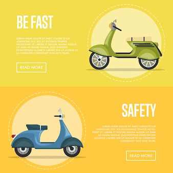 Classic city mopeds banner templates