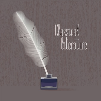 Classic, classical literature vector illustration with bird feather and ink