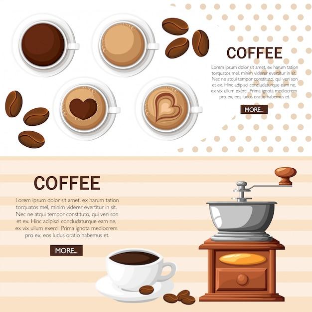 コーヒー豆手動コーヒーミルの束と白い背景の上のコーヒーカップのイラストのカップを持つ古典的なコーヒーグラインダー。 webサイトページとモバイルアプリ