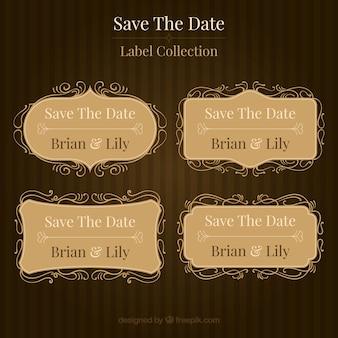 Collezione classica di etichette di nozze d'epoca