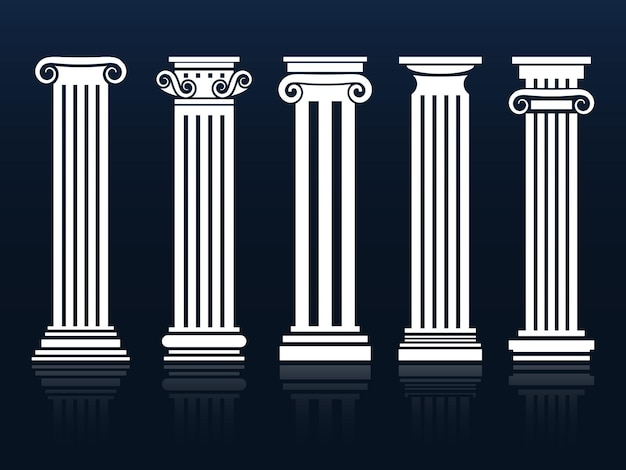 Classic columns set on blue