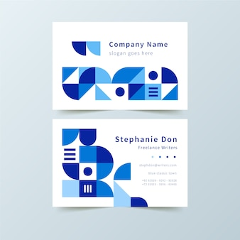 Classic company card with blue shapes template