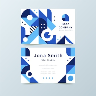 Classic company card with blue shapes