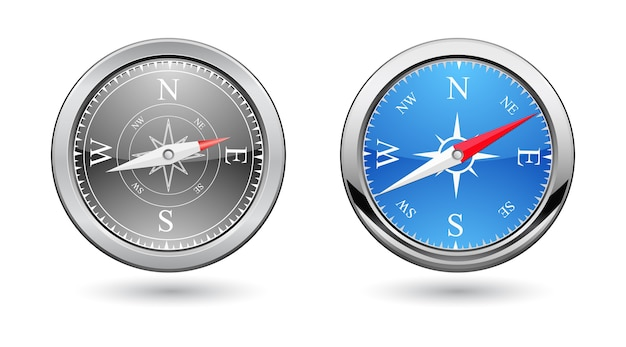 Classic compass 3d icon retro design