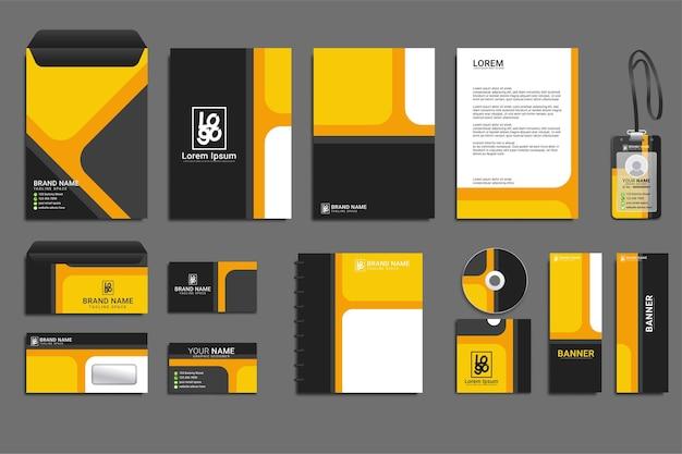 노란색과 검은색 모양의 클래식 기업 id 템플릿 디자인