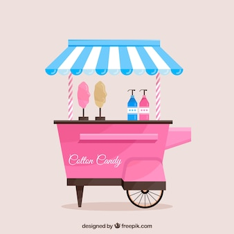 Classic cotton candy cart with awning