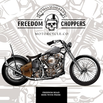 Classic custom chopper motorcycle poster