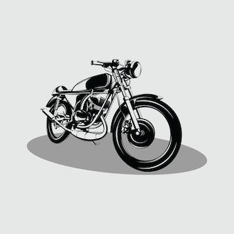 古典的なカスタムバイクのロゴデザインイラスト
