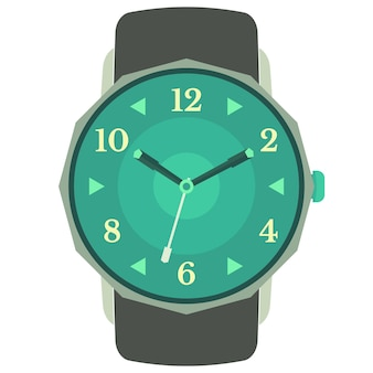 白い背景で隔離のクラシックなデザインの機械式腕時計。時間、分、秒針の文字盤。ベクトルイラスト。