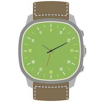 白い背景に分離されたクラシックなデザインの機械式腕時計。時間、分、秒針の時計の文字盤。ベクトルイラスト。