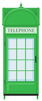 Classic design of telephone booth in green color