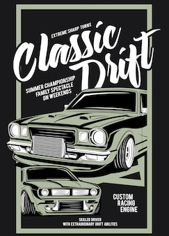 Classic drift, classic custom engine car illustration