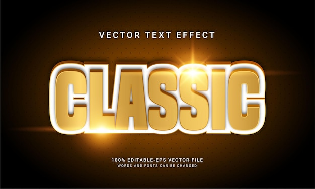 Classic editable text effect with gold color