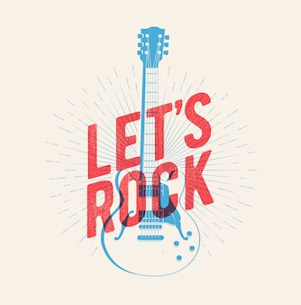 Classic electric guitar silhouette with let's rock caption.