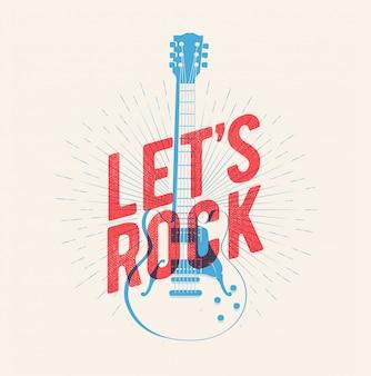 Классический силуэт электрогитары с надписью let's rock.