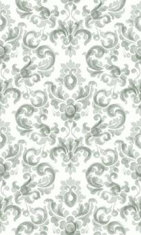 古典的なエレガントな飾りパターンの水彩画。緑の繊細な色のテクスチャ