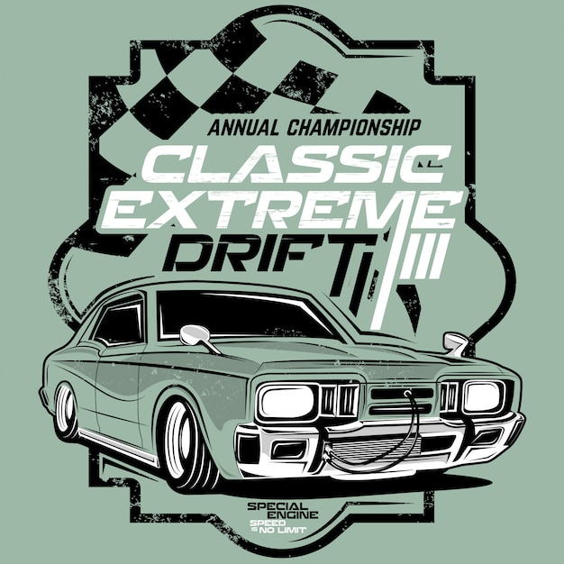 Classic extreme drift, classic car illustrations