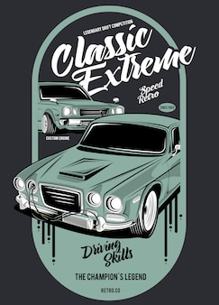 Classic extreme, illustration of a classic race car