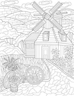 丘の背景の無色の線画古い自転車の横に風車のある古典的な農家