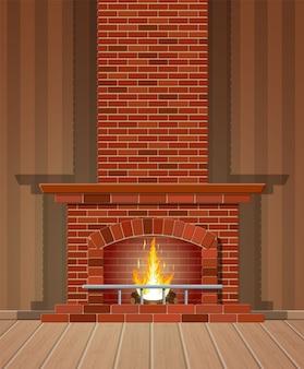 Классический камин из красного кирпича, яркое горящее пламя и тлеющие поленья