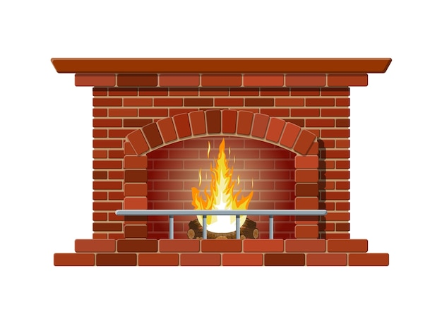 Classic fireplace made of red bricks, bright burning flame and smoldering logs inside