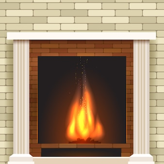 Classic fireplace vector icon.