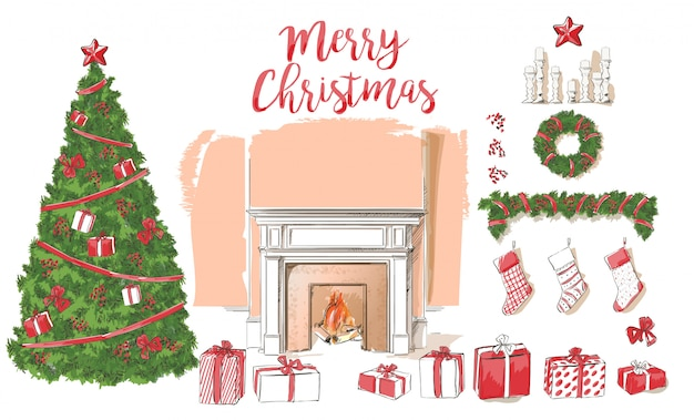 Classic fireplace with christmas decoration