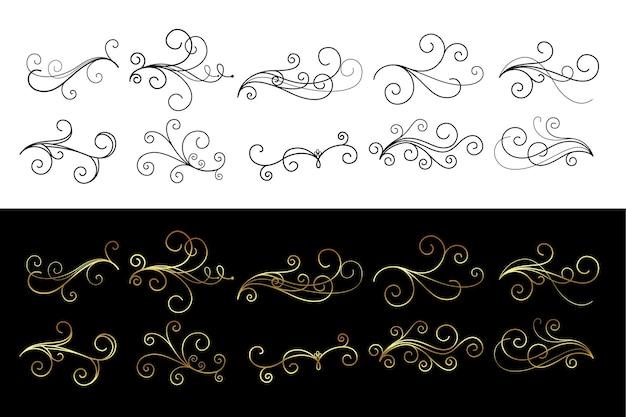 Classici ornamenti floreali turbinii collezione di decorazioni
