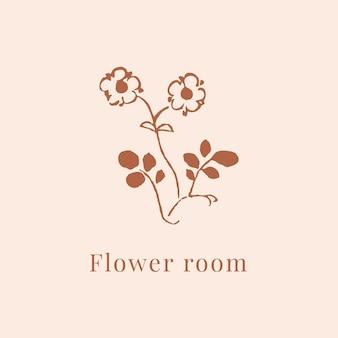 Classic flower logo vector template for branding in brown