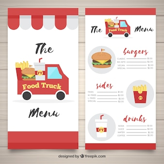 Classic food truck menu with burgers