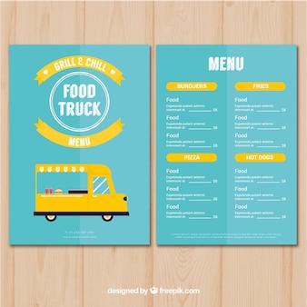 Classic food truck menu with flat design