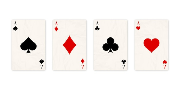 Classic four aces on white background