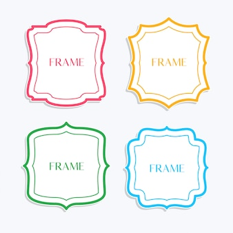 Classic frames in line style and different colors
