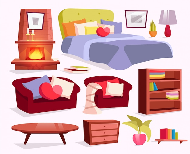 Classic furniture flat illustrations set. bed with pillows, blanket stickers, cliparts pack.
