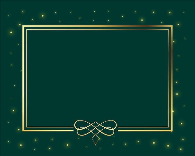Классическая золотая цветочная рамка с блестками