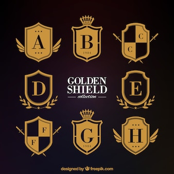 Classic golden heraldic shields