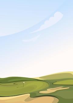 Классическое поле для гольфа. место для занятий спортом на открытом воздухе в вертикальной ориентации.