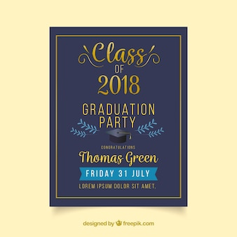 Invitation vectors photos and psd files free download classic graduation invitation template with flat design stopboris Image collections