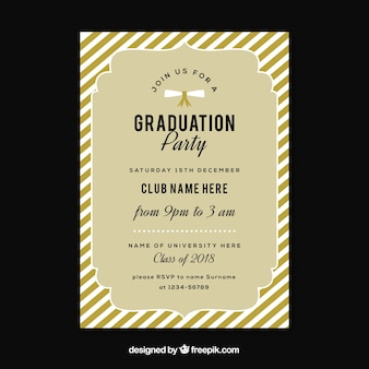 Classic graduation invitation template with flat design