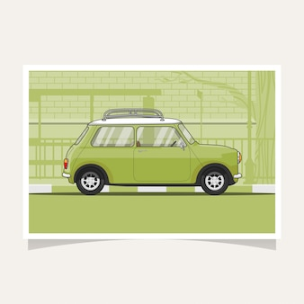 Classic green car conceptual design flat illustration vector