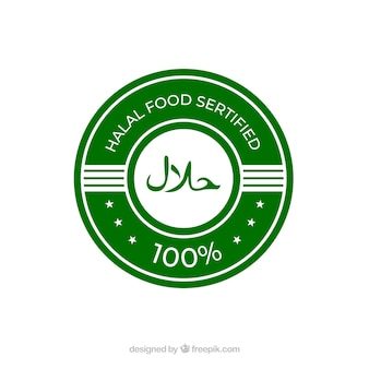 Classic green halal label with flat design