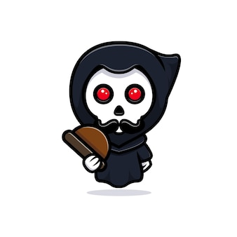 Classic grim reaper. cute mascot illustration