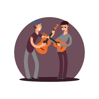 Classic guitaists vector cartoon characters. flat musicians design