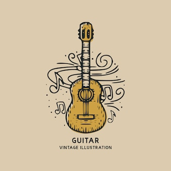 Classic guitar music instrument vintage illustration